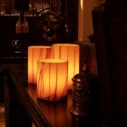 "Electric Hardwired Low Voltage LED 12 to 96 Candles System (3"" Diameter Wax Luminaries With Oriental Design Included)"