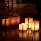 "Electric Hardwired Low Voltage LED 12 to 96 Candles System (3"" Wide Square Wax Luminaries With Oriental Design Included)"