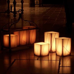 "Electric Hardwired Low Voltage LED Candles System  (6 to 11 set)(3"" Wide Square Oriental Design Wax Luminaries Included)"