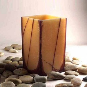 "Hollow Wax Luminaries  Square With Oriental Line Design (5.5"" wide by 4"", 5.5"", 7"" and/or 8.5"" tall)(Quantity discount 24 or more call)"