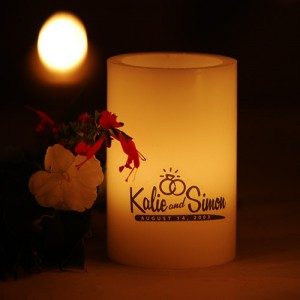 "Custom Personalized LED Flameless Round Candles / Timer or Remote Control options(4"" Diameter)(Quantity discount 48 or more call)"
