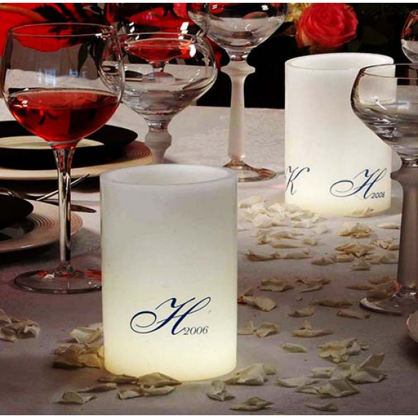 custom personalized led round flameless candles timer or remote