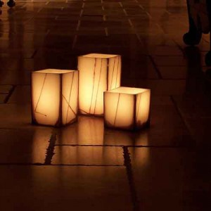 """Evolution Rechargeable 12 to 48 Smart Candle System 14500 Hours Lifespan (5.5"""" Wide Square Wax Luminaries With Line Design Included)"""