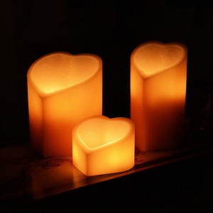 "Rechargeable Candle System, Commercial Grade Nexis LED up to 36K Hours Battery Lifespan (5"" Wide Heart Shape Wax Luminaries)"