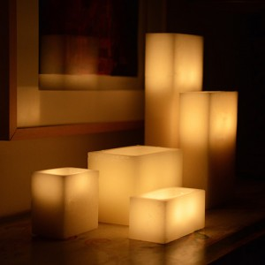 """Evolution Rechargeable 12 to 48 Smart Candle System 14500 Hours Lifespan (5"""" by 8"""" wide Rectangle Wax Luminaries Included)"""