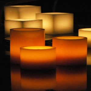 "Rechargeable Candle System, Commercial Grade 10500 Hours Lifespan 12 to 48 pack (5.5"" Diameter Round Wax Luminaries Included)"