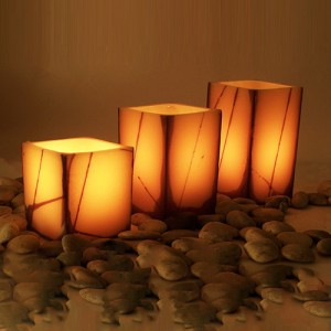 "Platinum Rechargeable Smart Candle System 10500 Hours Lifespan 12 to 48 pack (4"" Wide Square Wax Luminaries With Line Design Included)"