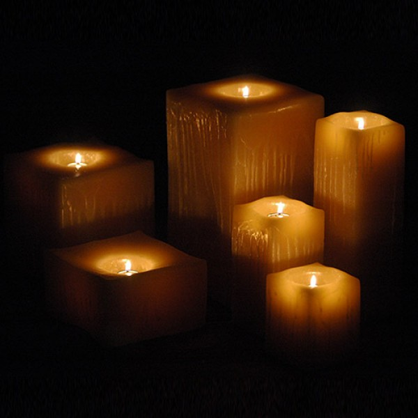 Reusable flame top candles 5 5 wide by 4 5 5 and or for Reusable luminaries