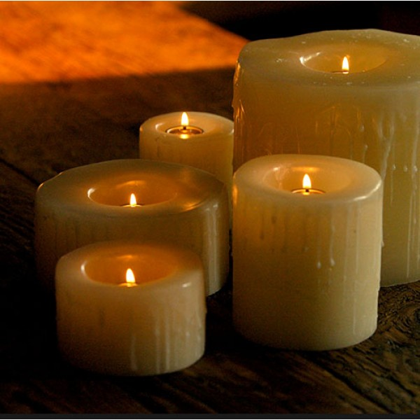 Reusable flame top candles 4 diameter by 3 4 and or 5 for Reusable luminaries