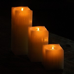 "Reusable Flame Top Candles (3"" Wide by 3"", 4"", 5.5"" and/or 7"" tall)(quantity discount 48 or more call)"