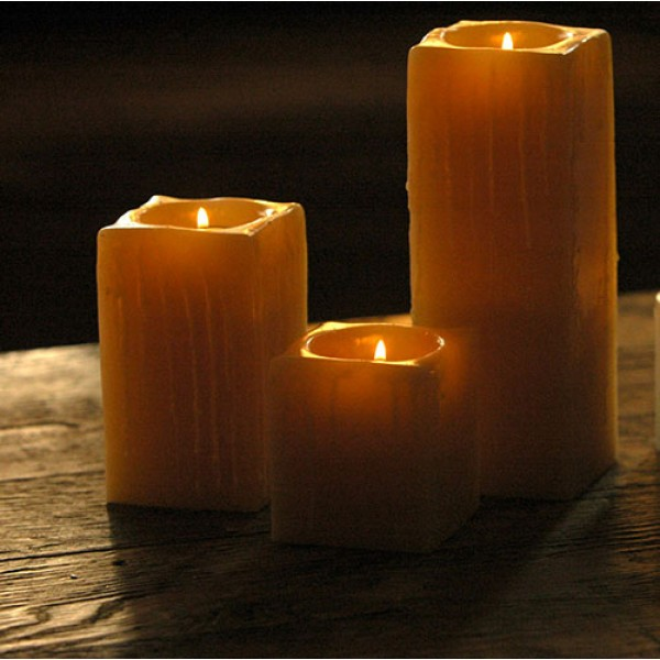 Reusable flame top square candles 4 wide by 3 4 5 5 for Reusable luminaries