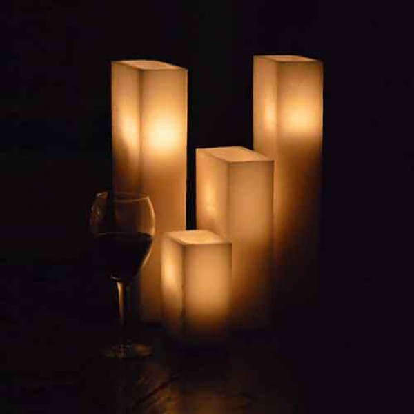Hollow candles wax luminaries rectangle 12 by 6 wide by for Reusable luminaries