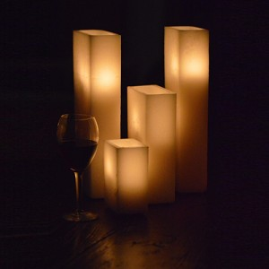 "Hollow Candles Wax Luminaries Rectangle (14"" by 3"" wide by 8"", 10"" and 14"" Tall)"
