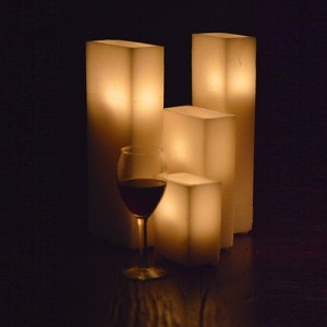 "Hollow Candles Wax Luminaries Rectangle (8"" by 5"" wide by 5"", 8"", 12"", 15"", 18"", and 24"" Tall)(Quantity discount 24 or more call)"