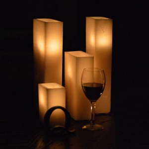 "Hollow Candles Wax Luminaries Rectangle (4"" by 2 1/2"" wide by 3"", 4"" and 5 1/2""Tall)"