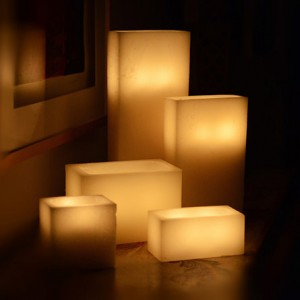 "Hollow Candles Wax Luminaries Rectangle (21"" by 4"" wide by 12"", 15"", 20"" and 24"" Tall)"