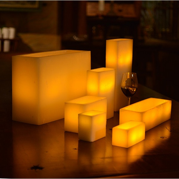 Hollow candles wax luminaries rectangle 10 by 4 wide by for Reusable luminaries