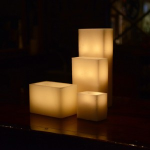"Hollow Candles Wax Luminaries Rectangle (12"" by 6"" wide by 9"", 12"", 15"" and 18"" Tall)"