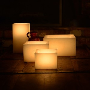 "Rechargeable Candle System, Commercial Grade Nexis LED up to 36K Hours Battery Lifespan (2.5"" or 3"" Wide Square Wax Luminaries Included)"