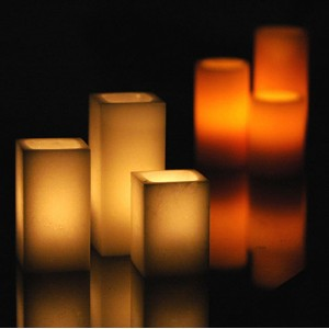 "Electric Hardwired Low Voltage LED Candles System (6 to 11 set)(3"" Wide Square Wax Luminaries Included)"